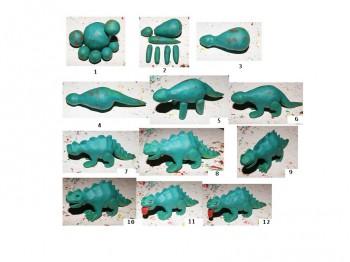 Этапы лепки стегозавра