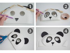 Изготовление маски-панды из тарелок