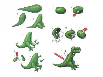 Последовательность лепки динозавра