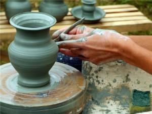 Работа с голубой глиной