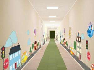 Оформление коридора в детском саду в виде магистрали