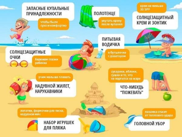 Обязательные вещи для ребенка на пляже