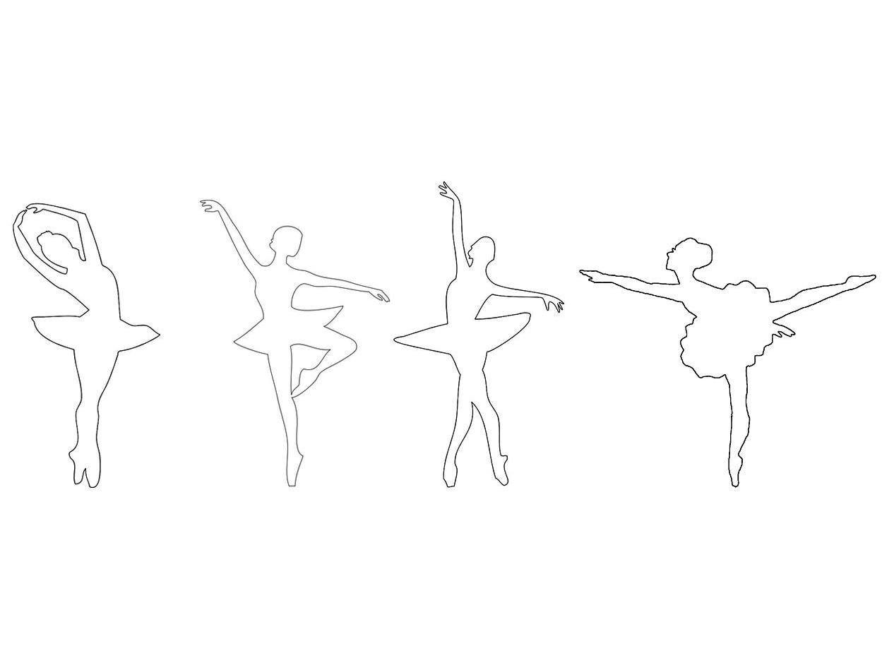 Различные позы балерины