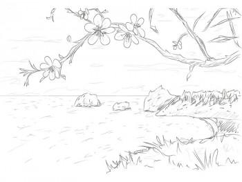 Рисунок весенней сакуры
